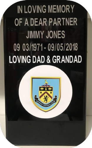 Burnley F. C. Square grave flower pot.